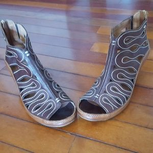 Pikolinos leather booties open toe sandals sz 6.5